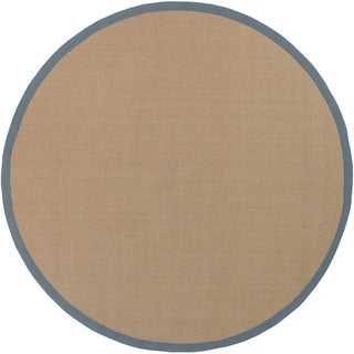 Artist's Loom Hand-woven Contemporary Border Natural Eco-friendly Sisal Rug (7'9 Round) - 7'9