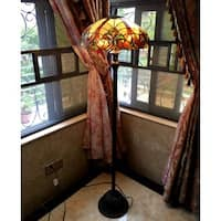 Chloe Victorian Bronze-base Tiffany-style Floor Lamp