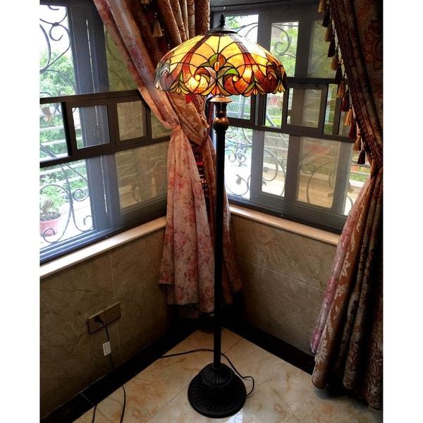 Chloe Victorian Bronze-base Tiffany-style Floor Lamp