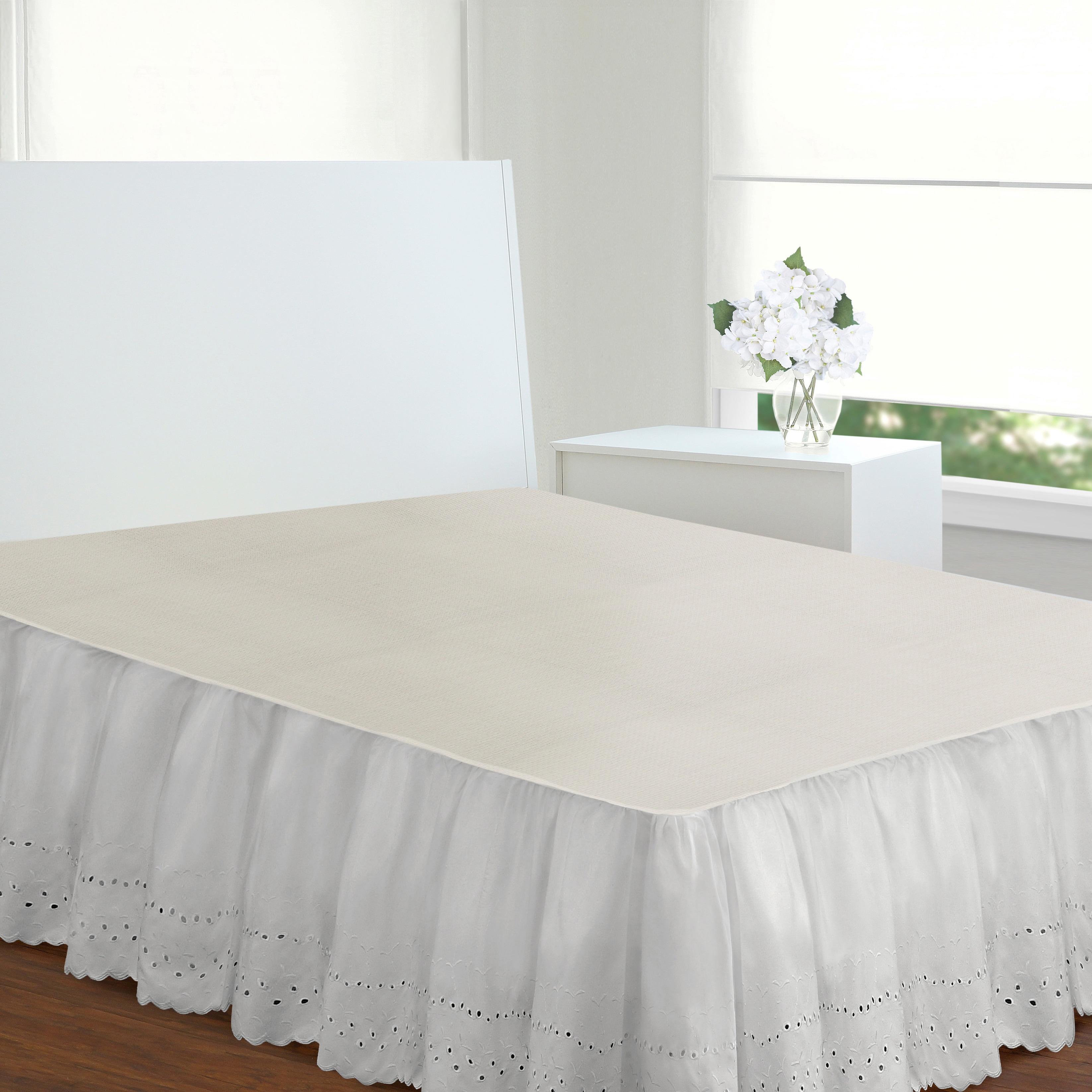 White ~Ivory *Extra Drop Length Two Tone 100/% Cotton Split Corner Bed skirt