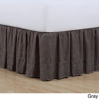 Fresh Ideas Lauren Heirloom Ruffled Eyelet 14-inch Drop Bedskirt (Grey - California King)