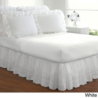 Fresh Ideas Lauren Heirloom Ruffled Eyelet 14-inch Drop Bedskirt (White - California King)