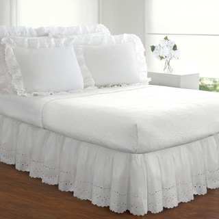 Fresh Ideas Lauren Heirloom Ruffled Eyelet 14-inch Drop Bedskirt