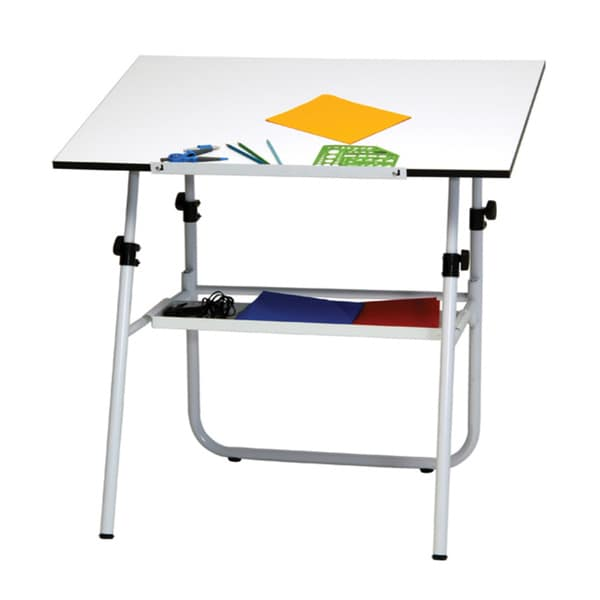 Studio designs ultima fold a way white drafting table for Fold up craft table