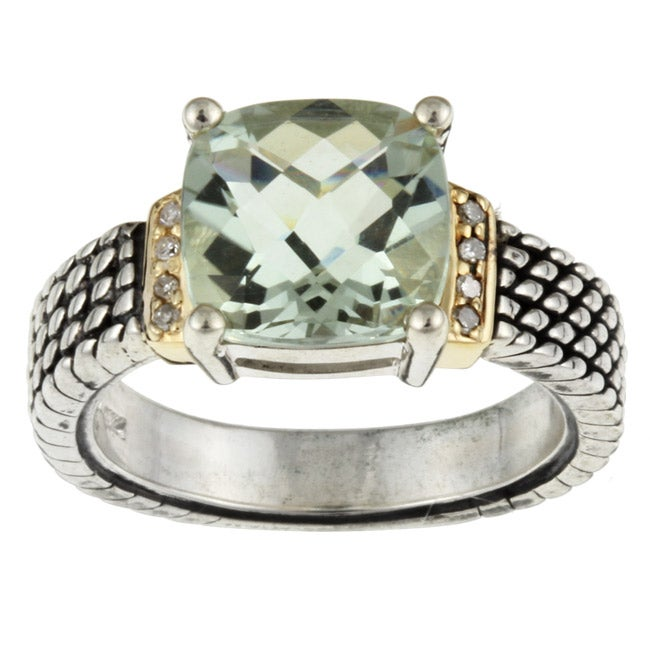 Meredith Leigh 14k Gold and Silver Green Amethyst and Diamond Ring