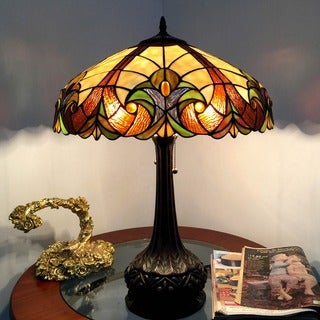 Tiffany-style Victorian Bronze Base Table Lamp