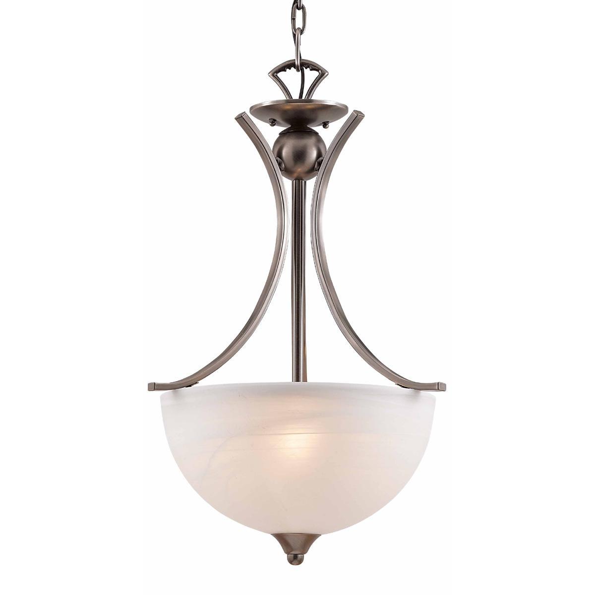Luxor Brushed Steel Alabaster Glass 3-light Pendant