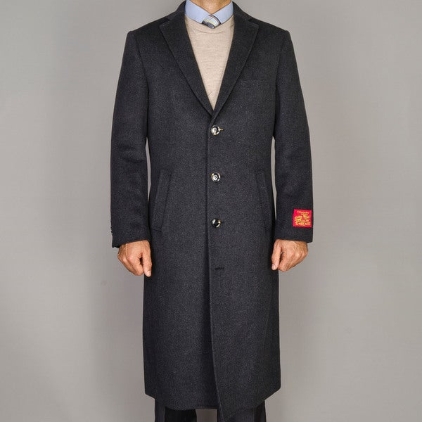 Men's Wool and Cashmere Topcoat - Free Shipping Today - Overstock ...