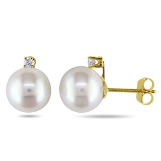 Miadora 14k Gold Diamond and Cultured Freshwater Pearl Earrings (7-7.5 mm)