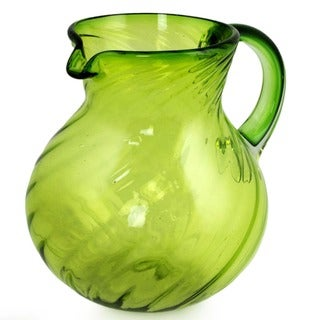 Handmade Blown Glass 'Lemon Sorbet' Pitcher (Mexico)