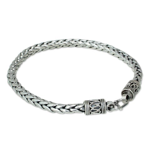 Handmade Sterling Silver Men's 'Strength' Bracelet (Thailand)