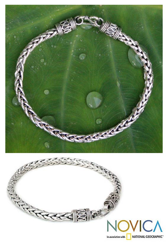 Sterling Silver Men's 'Strength' Bracelet (Thailand)