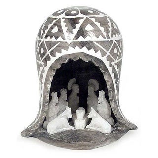 Christmas is Peace Christian Theme Hand Carved Black White Gray Marble Like Huamanga Stone Art Religious Nativity Set (Peru)