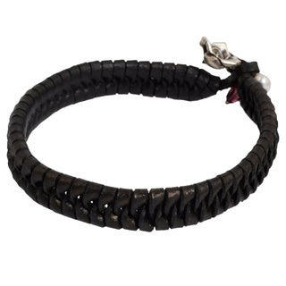 Handmade Nest Woven Black Leather with White Freshwater Pearl and 925 Sterling Silver Rose Charm Womens Wrist (Thailand)