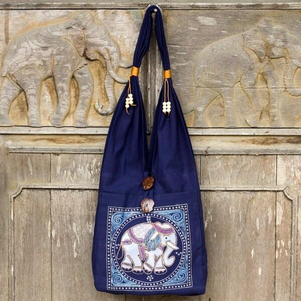 Handmade Cotton 'Lucky Elephant' Handbag (Thailand)
