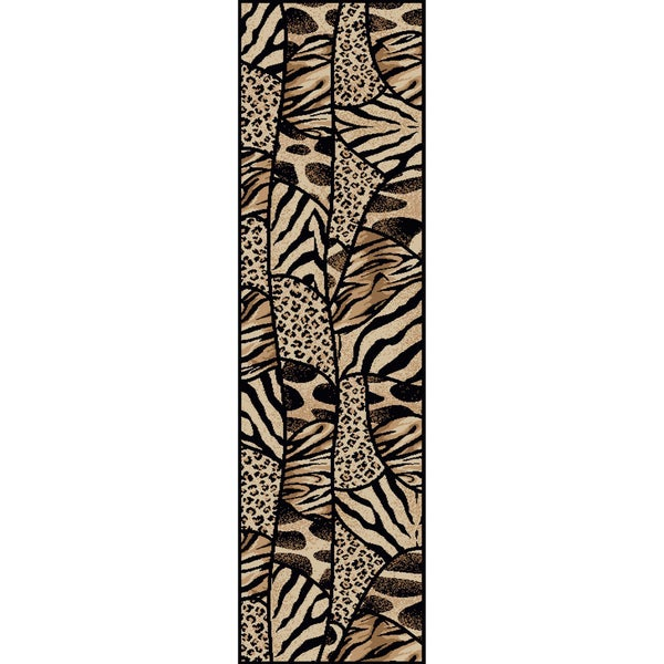 Admire Home Living Virginia Animal Print Black/ Beige Olefin Rug (2'2 x 7'7)