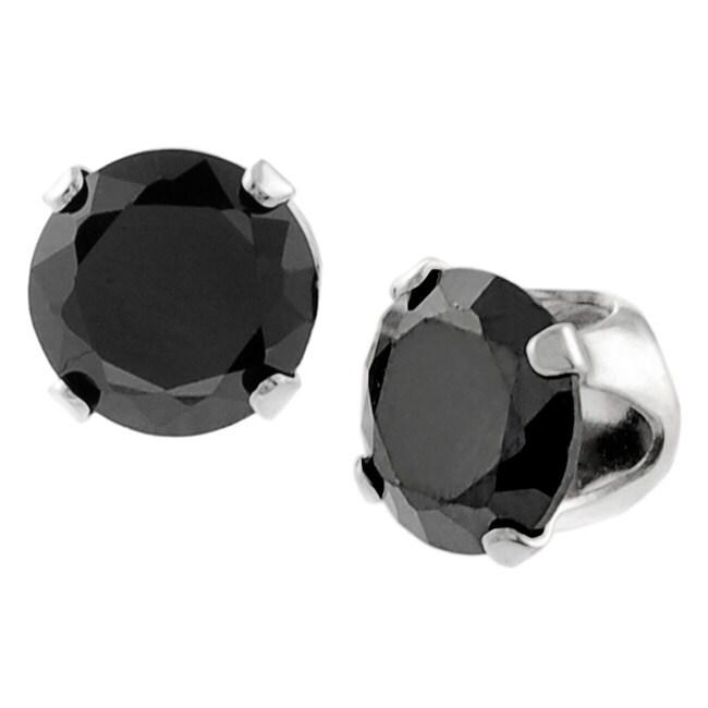 Journee Collection  Sterling Silver Black Cubic Zirconia Stud Earrings
