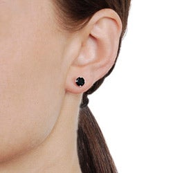 Journee Collection  Sterling Silver Black Cubic Zirconia Stud Earrings - Thumbnail 2