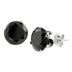 Journee Collection Sterling Silver 8-mm Black CZ Round Earrings