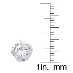 Journee Collection  Sterling Silver 8 mm Round-cut CZ Earrings - Thumbnail 2
