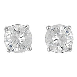 Journee Collection Sterling Silver CZ 6-mm Round Stud Earrings