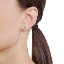 Journee Sterling Silver CZ 7-mm Round Stud Earrings - Thumbnail 2