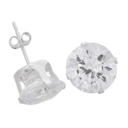 Journee Collection Sterling Silver CZ 9-mm Round Stud Earrings