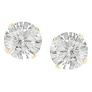Sterling Silver Cubic Zirconia Round-cut Stud Earrings