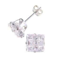 Journee Collection  Sterling Silver CZ 7-mm Square Stud Earrings
