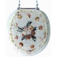 Seashell Pearl White Round Polyresin Toilet Seat