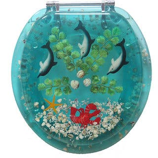 turquoise toilet seat cover. Trimmer Polyresin Dolphins Toilet Seat Seats For Less  Overstock com