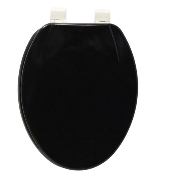 Shop Elongated Black Molded Wood Solid Toilet Seat Free