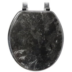 Black Marbleized Molded Wood Toilet Seat
