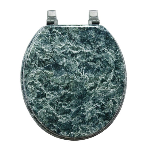 Green Marblized Molded Wood Toilet Seat