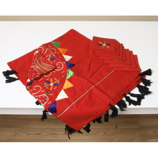Embroidered Table Cloth and Napkin Set (India)