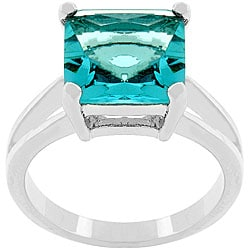 Kate Bissett Silvertone 'Blue Lagoon' Cubic Zirconia Ring