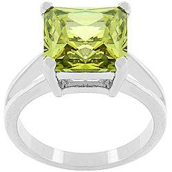 Kate Bissett Silvertone 'Peridot Paradise' Green CZ Ring