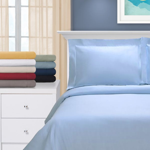 Superior Egyptian Cotton 1200 Thread Count Sateen Finish Solid 3-piece Duvet Cover Set