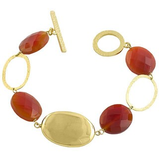 Fremada 14k Gold over Sterling Silver Red Agate Bracelet