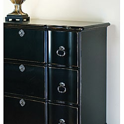 Hand-painted Hand-rubbed Black Large Chest - Thumbnail 1
