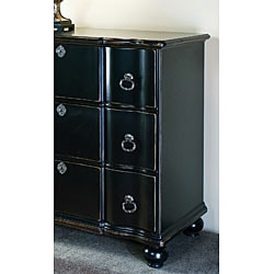Hand-painted Hand-rubbed Black Large Chest - Thumbnail 2