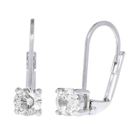 Simon Frank Designs Classic Silver Overlay Leverback CZ Solitare Drop Earrings