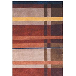 Safavieh Hand-knotted Plaid Contemporary Wool Rug (5' x 8') - Thumbnail 1