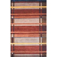 Safavieh Hand-knotted Plaid Contemporary Wool Rug - multi - 5' x 8'