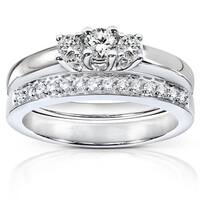 Annello by Kobelli 14k Gold 3/8ct TDW Diamond Bridal Rings Set