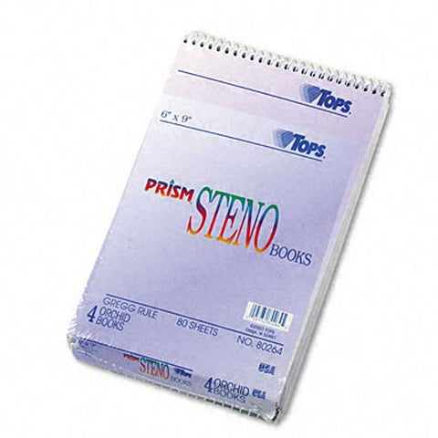 Tops Prism 6x 9-inch Ruled Steno Notebook (Pack of 4)