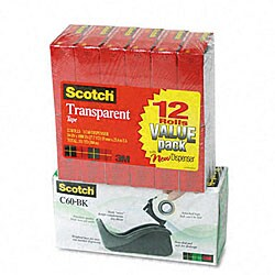 3M Tape Dispenser with Scotch Tape (12 Rolls)