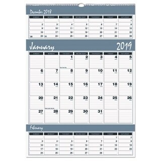 House of Doolittle Recycled Bar Harbor Three-Months-per-Page Wall Calendar, 15 1/2 x 22, 2018-2020