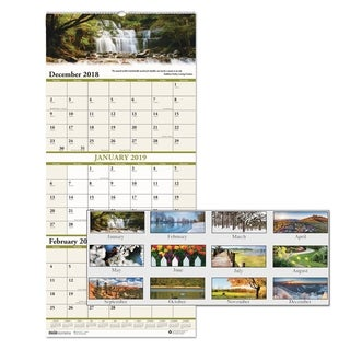 House of Doolittle Recycled Scenic Landscapes Three-Months/Page Wall Calendar, 12.25x26, 2017-2019