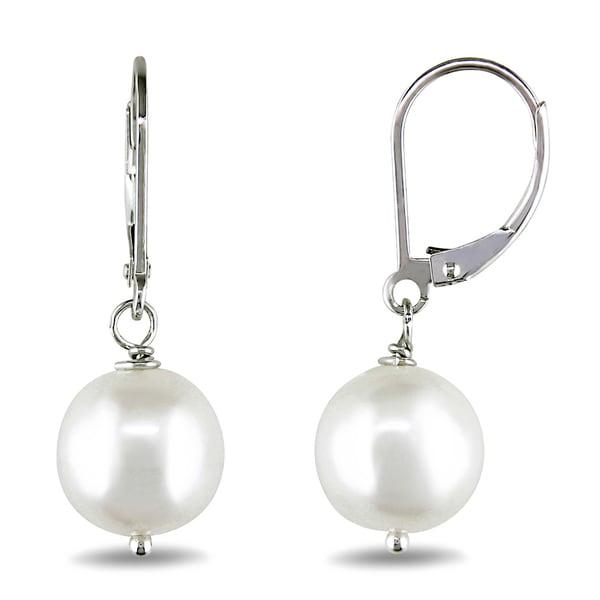 M by Miadora Silver Freshwater Pearl Earrings (10-11 mm)
